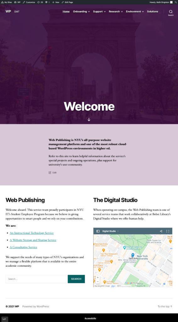 Full length screenshot of the Onboarding Site's welcome page.