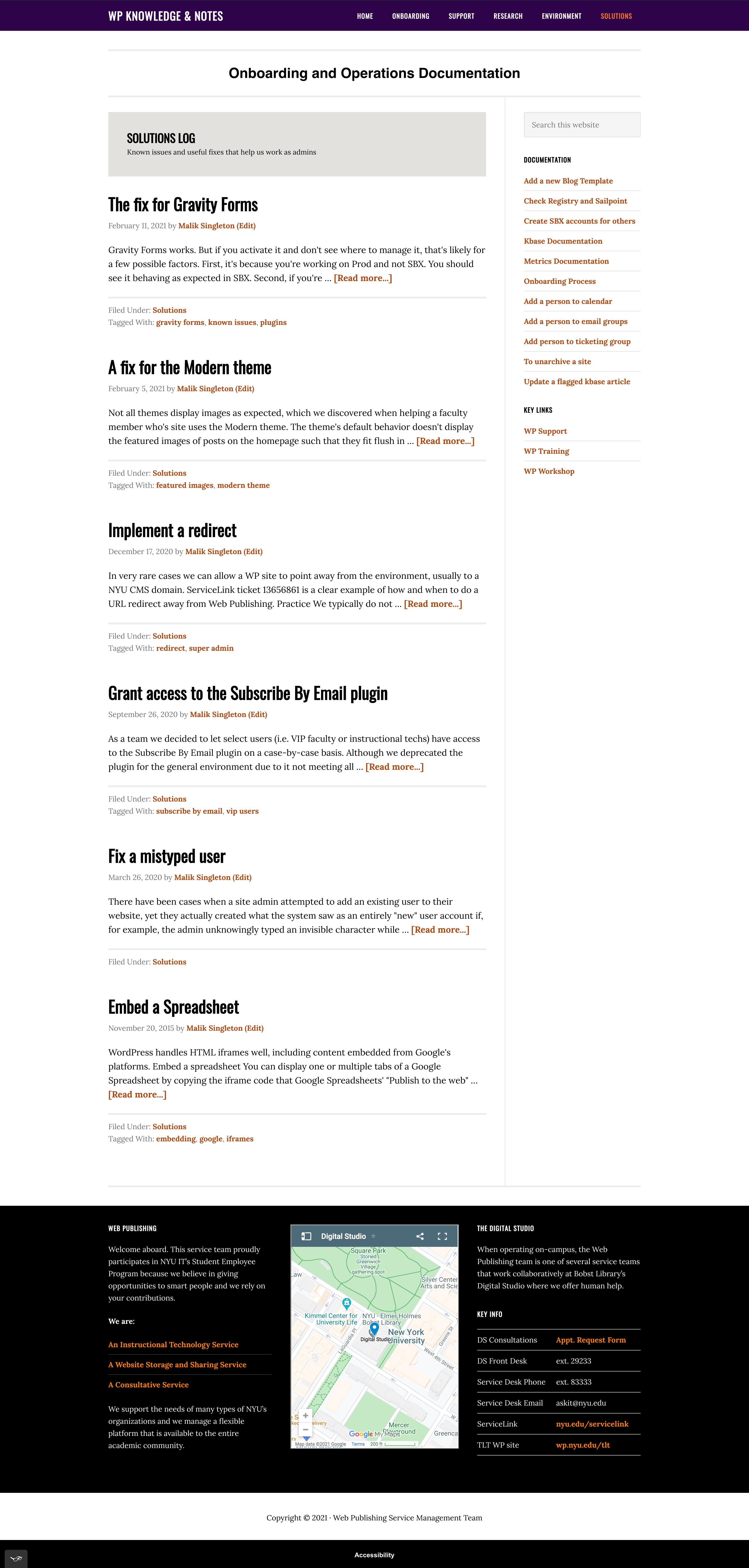 Screenshot of Solutions Log